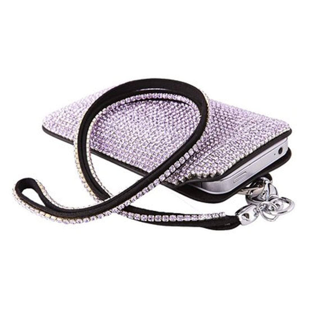 Kalifano iPhone SPC-023-V - Strap iPhone 5/6 Case Made w/ Swarovski Crystals - Black Leather with Provence Lavender Crystals SPC-023-V