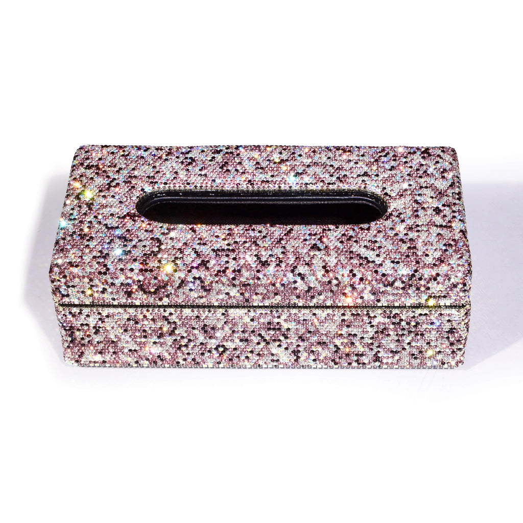 Kalifano Jeweled Accessories STB300-PE - Tissue Box made w/ Crystals STB300-PE