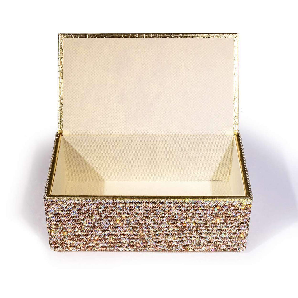 Kalifano Jeweled Accessories STB400-GD - Tissue Box made w/ Gold Crystals STB400-GD