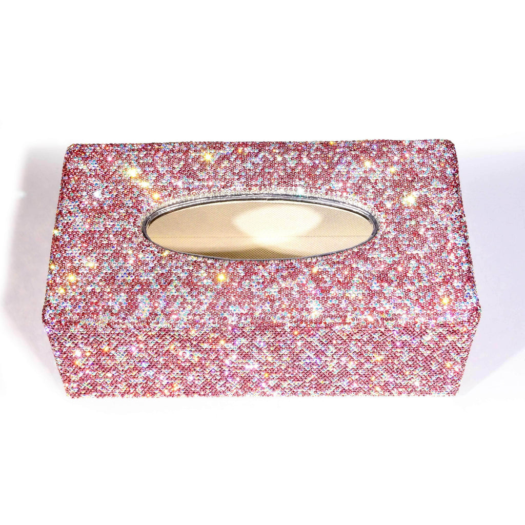 Kalifano Jeweled Accessories STB400-PK - Tissue Box made w/ Pink Crystals STB400-PK