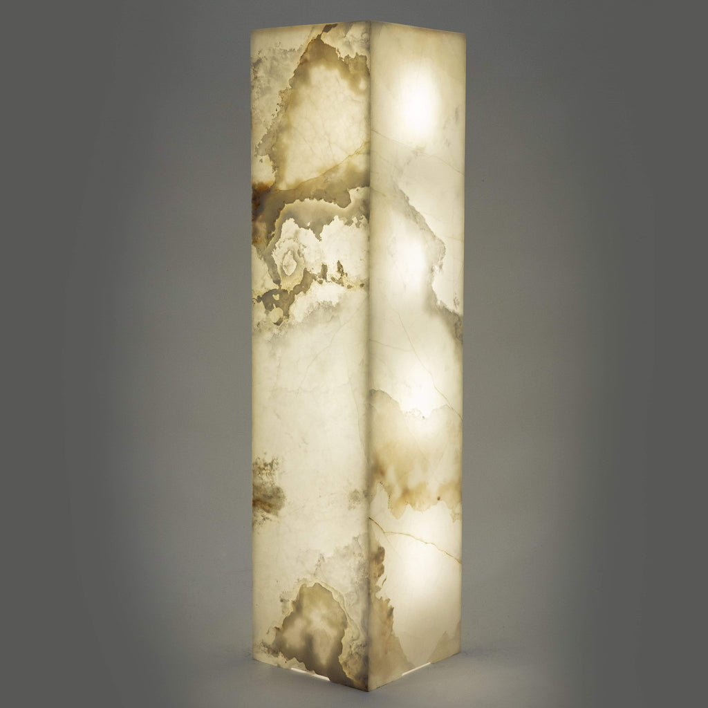 Kalifano LIGHT TOWER LTS1253030.007 - White Glossy Onyx Light Tower LTSQ1253030.007