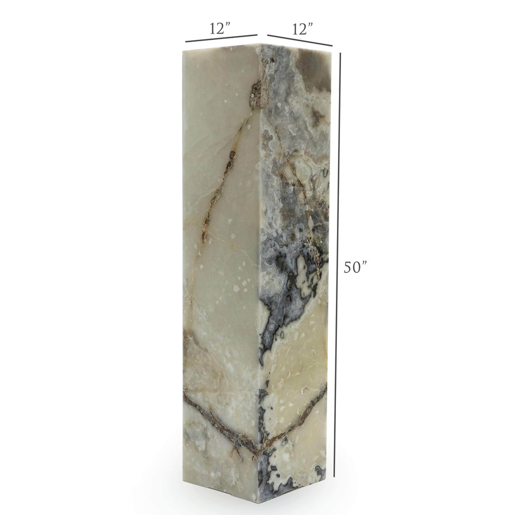 Kalifano Light Towers White Glossy Onyx Light Tower - 4ft x 1ft x 1ft LTSQ1253030.009