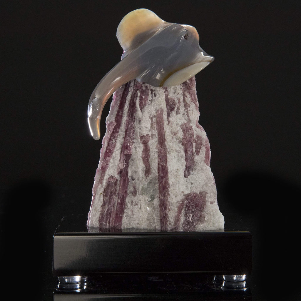 Kalifano Love Birds Carvings Agate Stingray Love Birds Carving on Pink Tourmaline Base LB.E111.002