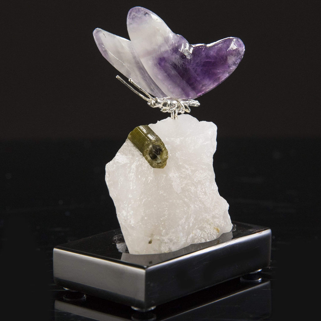Kalifano Love Birds Carvings Amethyst Butterfly Love Birds Carving on Calcite & Green Tourmaline Base LB.E101.001