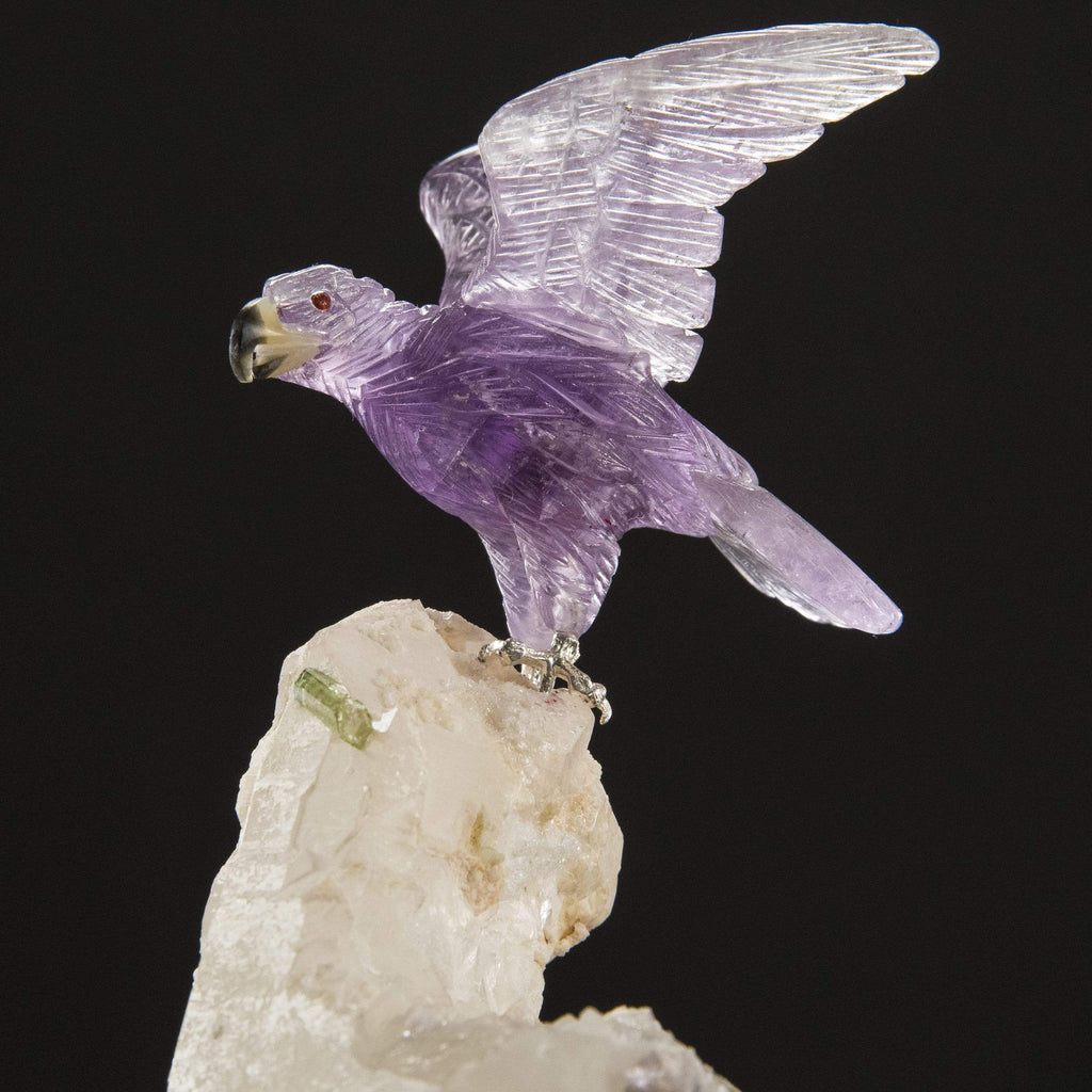 Kalifano Love Birds Carvings Amethyst Falcon Love Birds Carving on Calcite & Green Tourmaline Base LB.C143.002