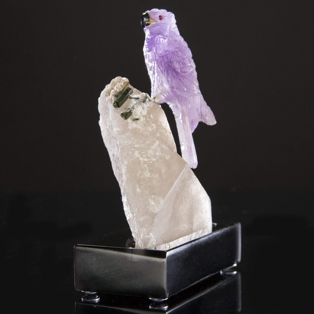 Kalifano Love Birds Carvings Amethyst Falcon Love Birds Carving on Smokey Quartz & Green Tourmaline Base LB.C142.003
