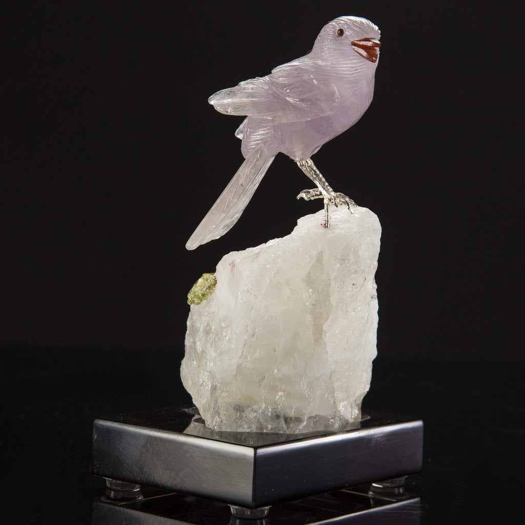 Amethyst Sparrow Love Birds Carving on Calcite & Green Tourmaline Base