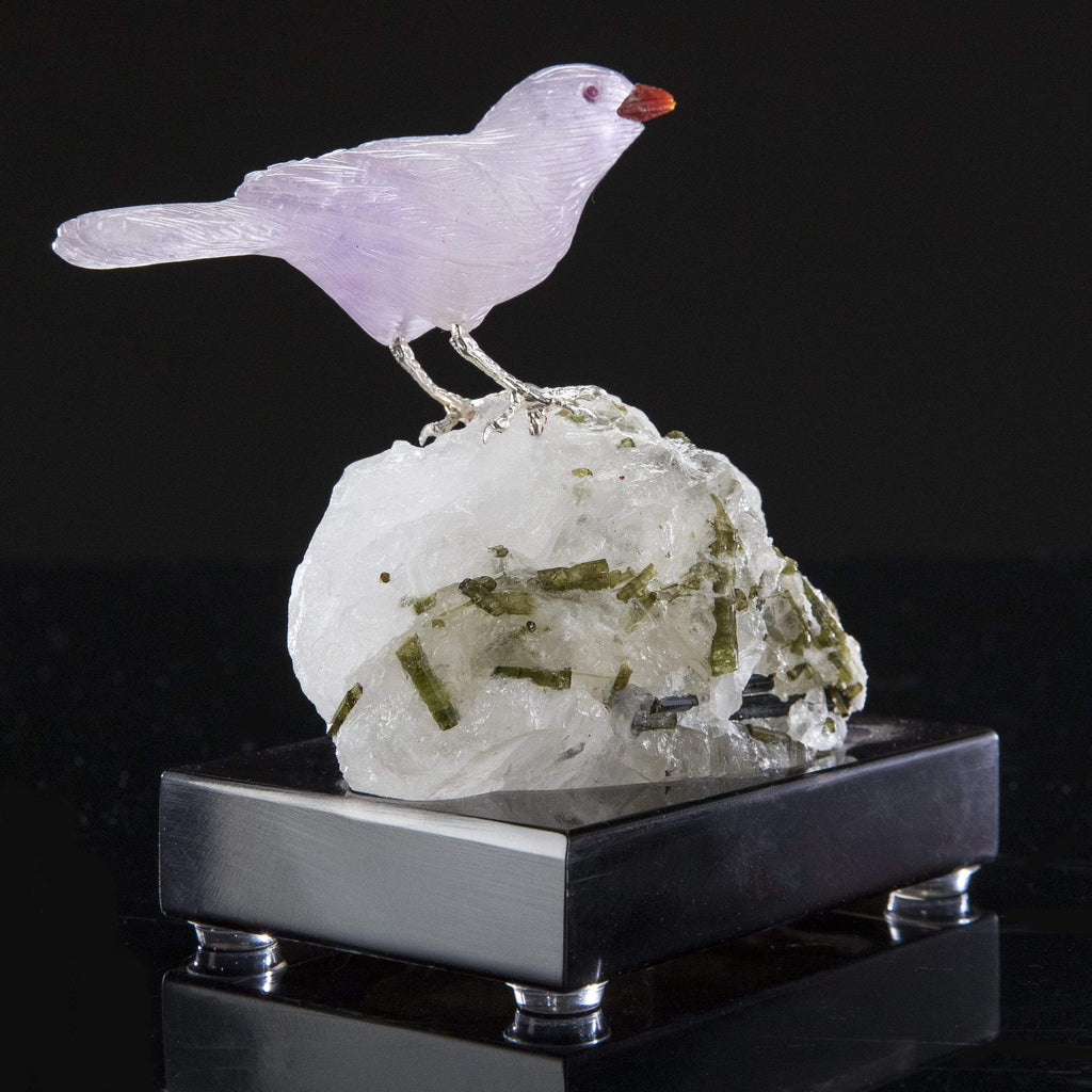 Kalifano Love Birds Carvings Amethyst Sparrow Love Birds Carving on Quartz & Green Tourmaline Base LB.A101.001