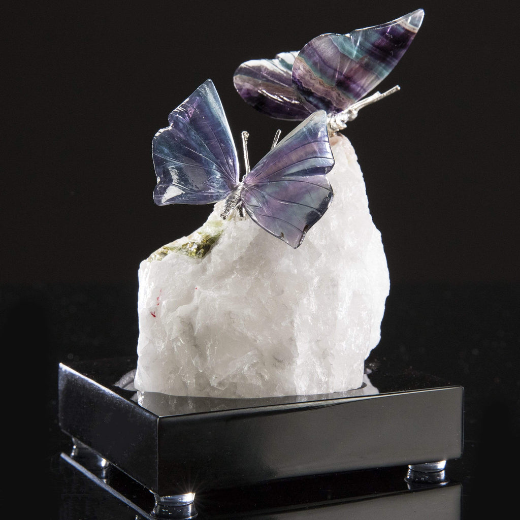 Kalifano Love Birds Carvings Fluorite Butterfly Pair Love Birds Carving on Calcite & Watermelon Tourmaline Base LB.E201.001