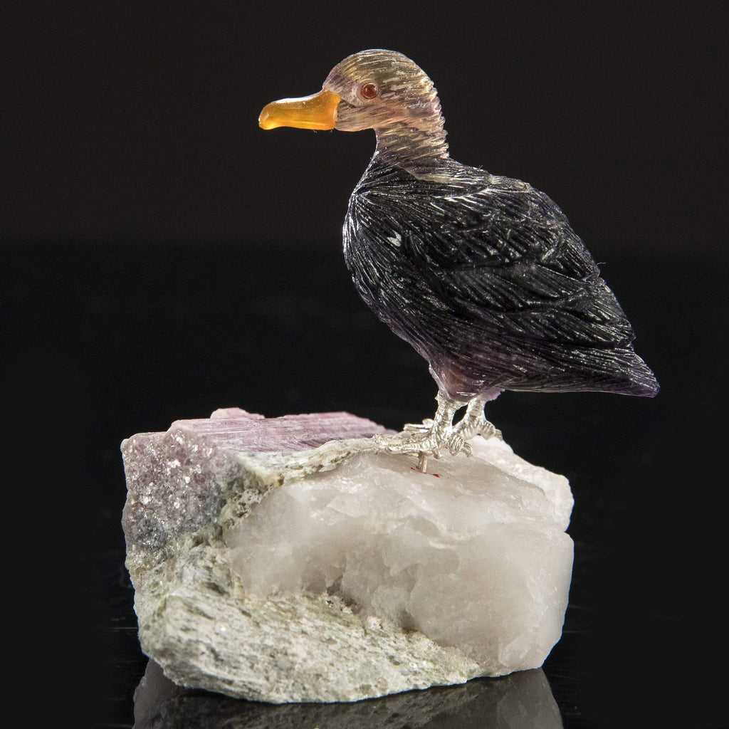 Kalifano Love Birds Carvings Fluorite Duck Love Birds Carving on Watermelon Tourmaline Base LB.D114.002