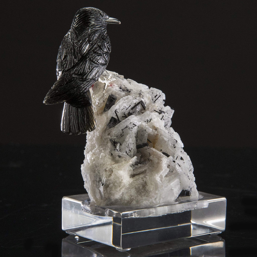 Obsidian Crow Love Birds Carving on Albite & Black Tourmaline Base