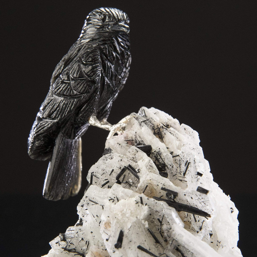 Kalifano Love Birds Carvings Obsidian Crow Love Birds Carving on Albite & Black Tourmaline Base LB.A178.003