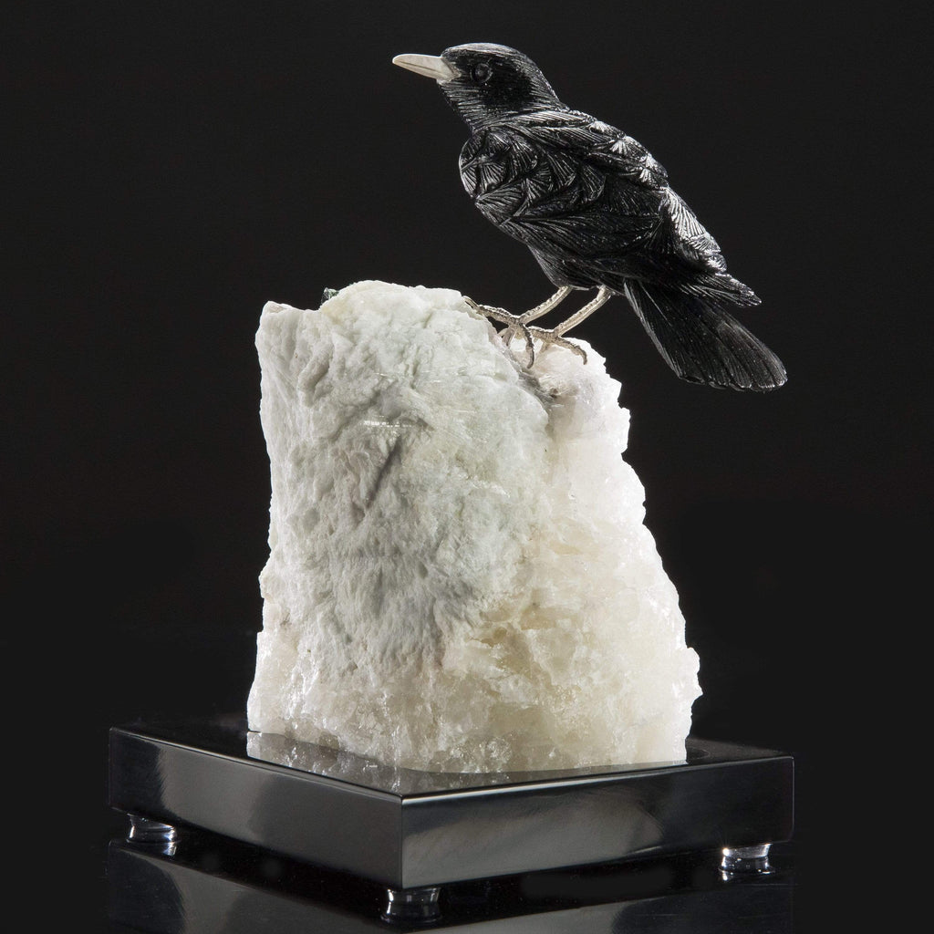 Kalifano Love Birds Carvings Obsidian Crow Love Birds Carving on Calcite & Watermelon Tourmaline Base LB.A173.001