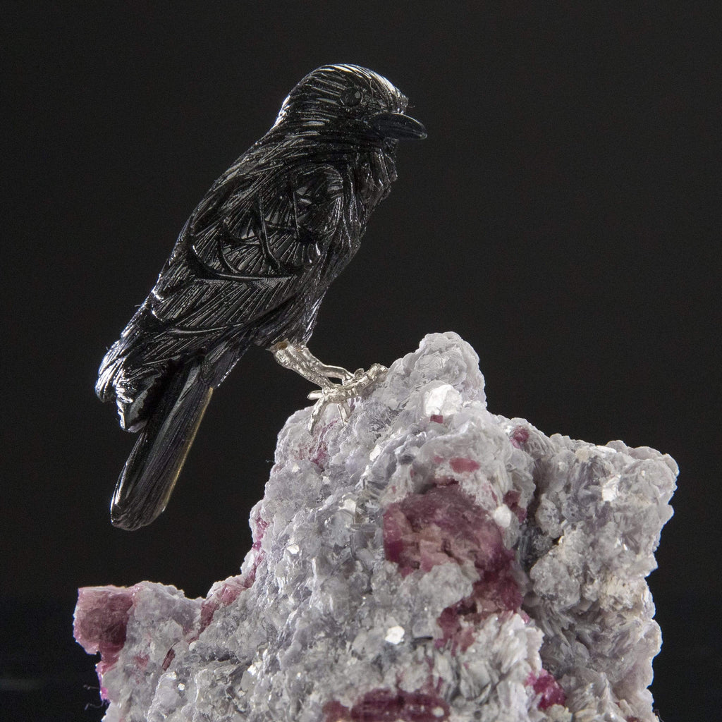 Kalifano Love Birds Carvings Obsidian Crow Love Birds Carving on Mica & Pink Tourmaline Base LB.A178.001