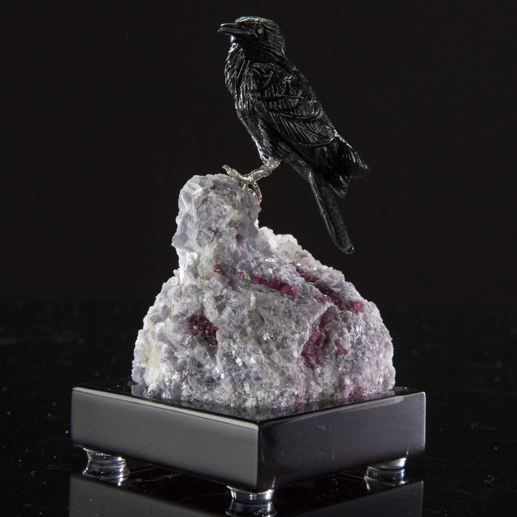 Kalifano Love Birds Carvings Obsidian Crow Love Birds Carving on Mica & Pink Tourmaline Base LB.A178.002