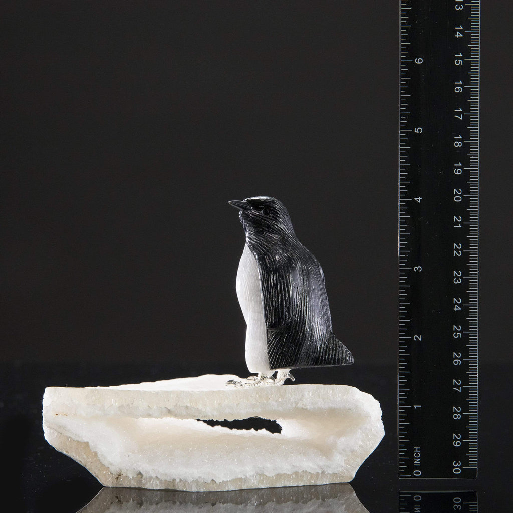 Kalifano Love Birds Carvings Obsidian & Quartz Penguin Love Birds Carving on Quartz Geode Base LB.A122.001