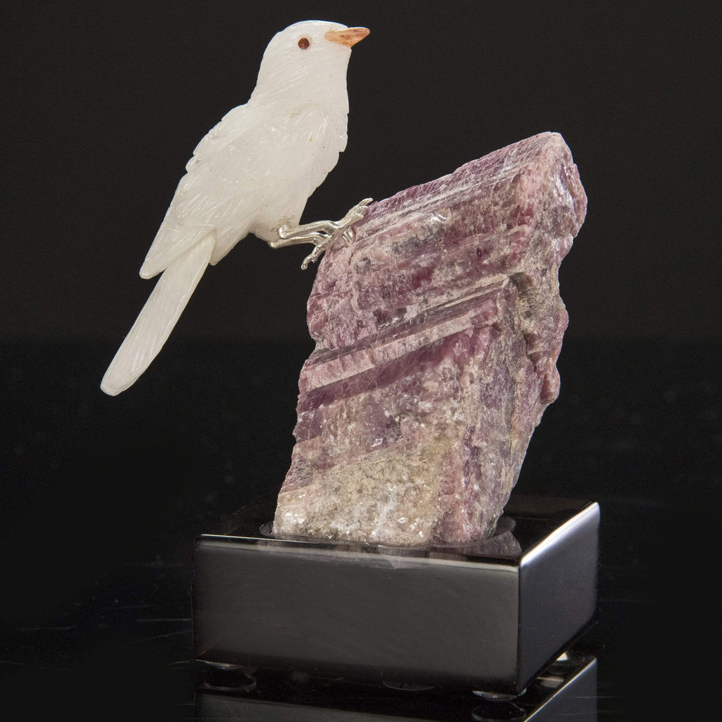 Kalifano Love Birds Carvings Quartz Dove Love Birds Carving on Pink Tourmaline Base LB.A171.002