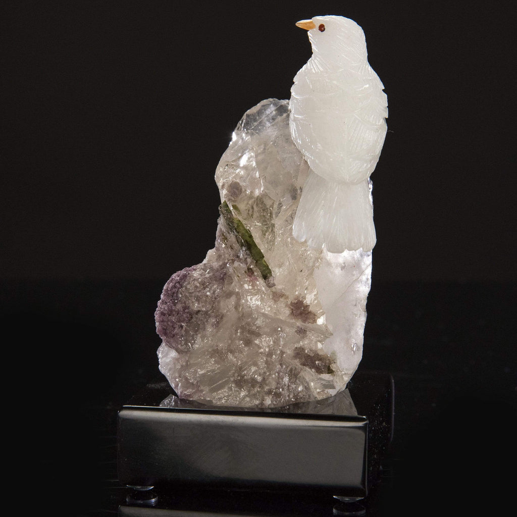 Kalifano Love Birds Carvings Quartz Dove Love Birds Carving on Smokey Quartz & Watermelon Tourmaline Base LB.A171.001