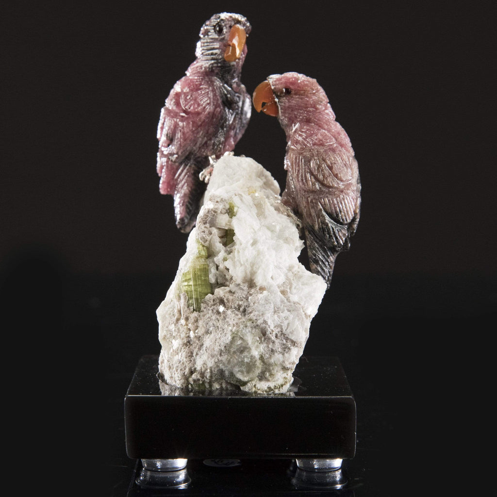 Kalifano Love Birds Carvings Rhodonite Parrot Pair Love Birds Carving on Mica & Green Tourmaline Base LB.C225.001