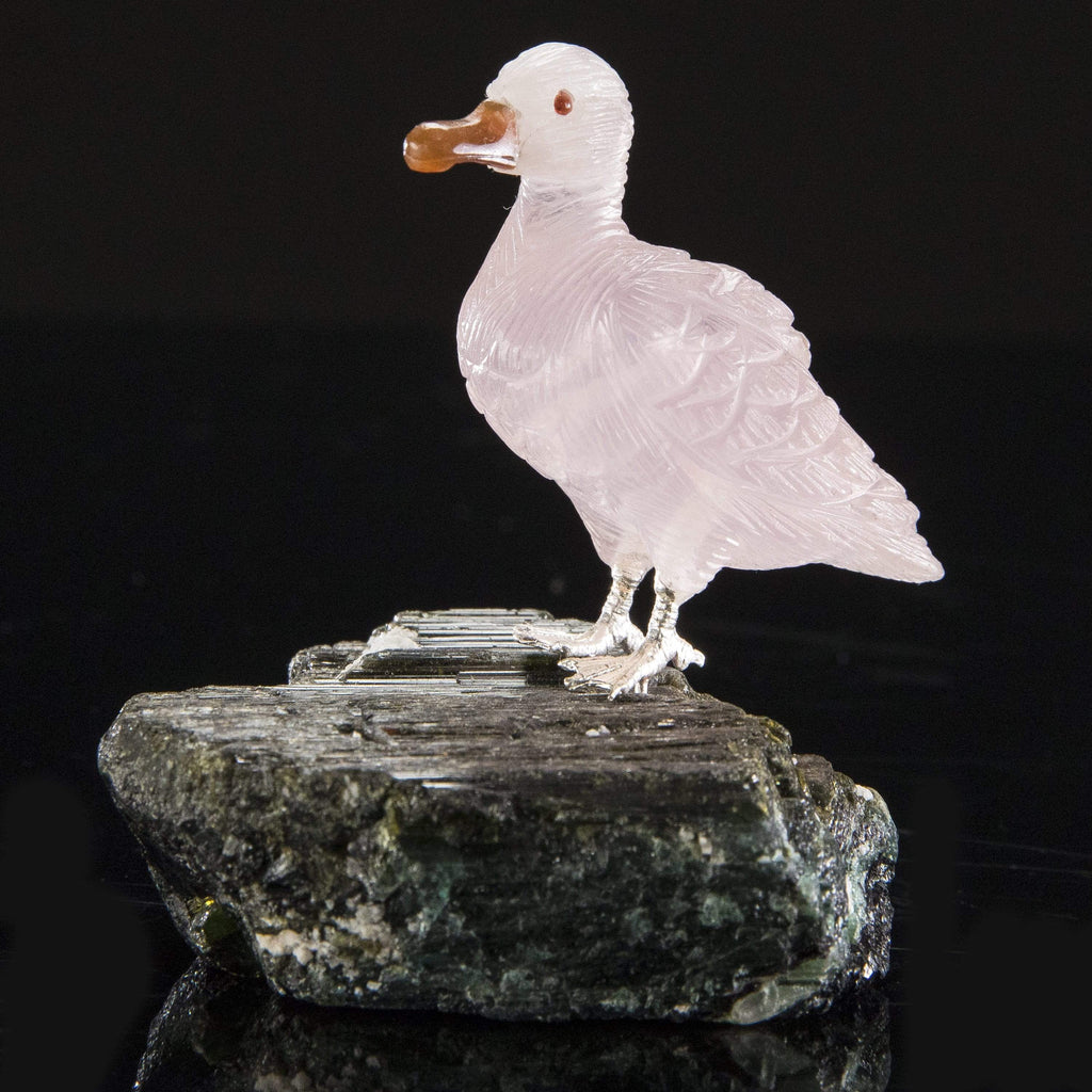 Kalifano Love Birds Carvings Rose Quartz Duck Love Birds Carving on Tourmaline Base LB.D114.001