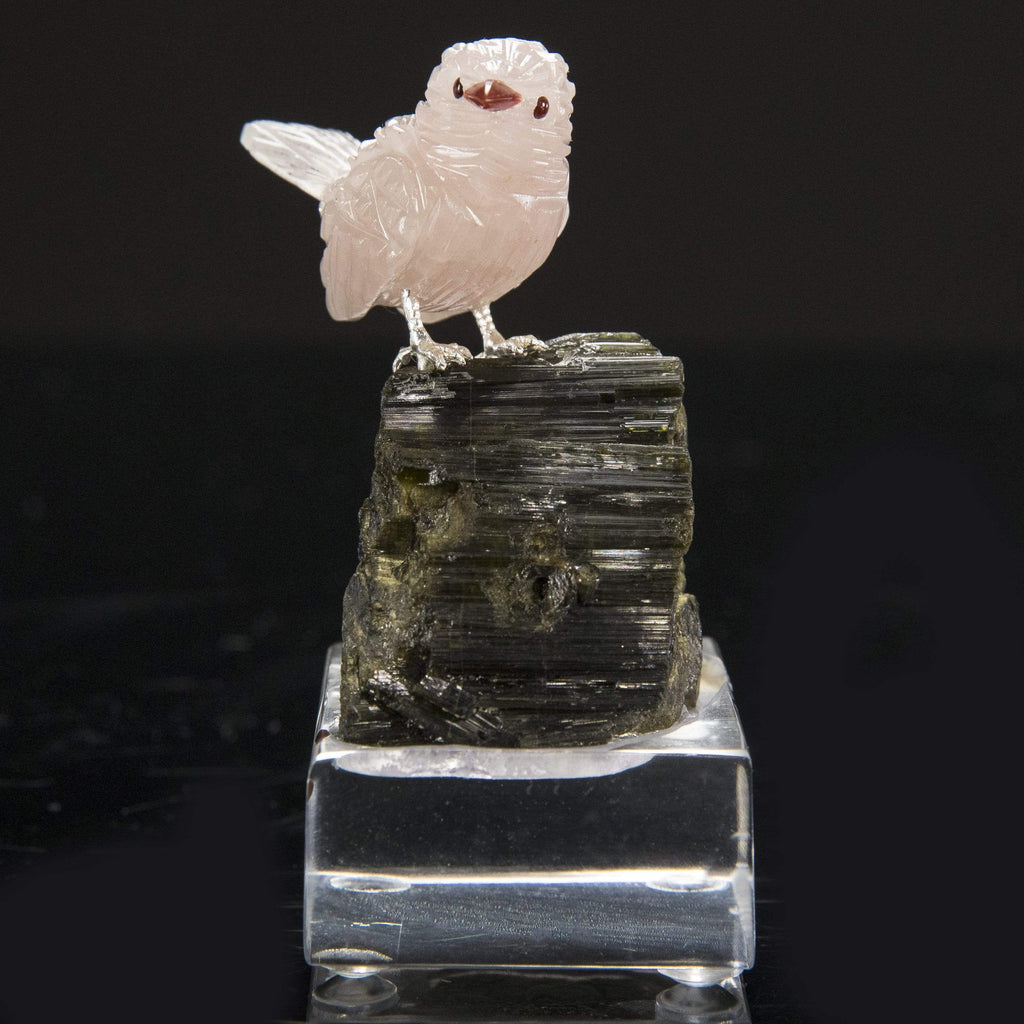 Kalifano Love Birds Carvings Rose Quartz Sparrow Love Birds Carving on Green Tourmaline Base LB.C104.002