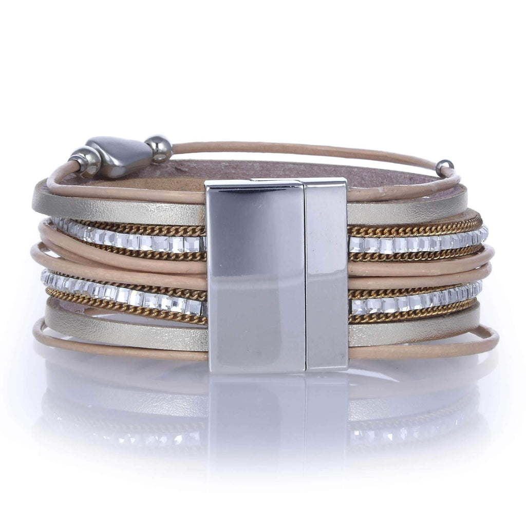Kalifano Multiwrap Bracelets BMW-03-GD - Multiple Strand Bracelet Pebble Beads Gold With Magnetic Clasp BMW-03-GD
