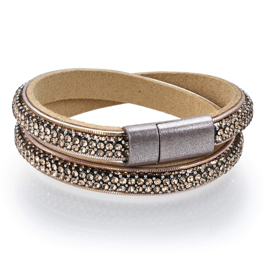 Kalifano Multiwrap Bracelets BMW-22-BN - Long Strand Diamond Brown Bracelet with Magnetic Clasp BMW-22-BN
