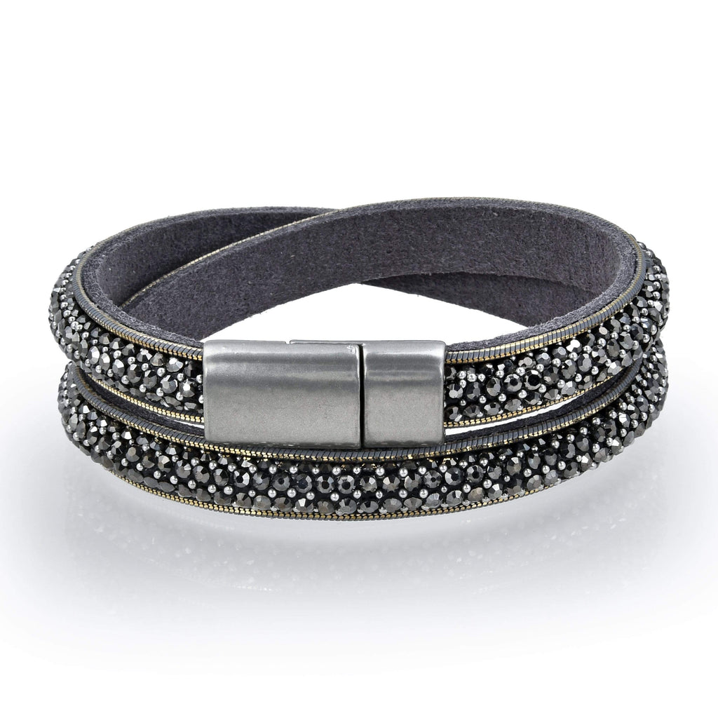 Kalifano Multiwrap Bracelets BMW-22-GY - Long Strand Diamond Gray Bracelet with Magnetic Clasp BMW-22-GY