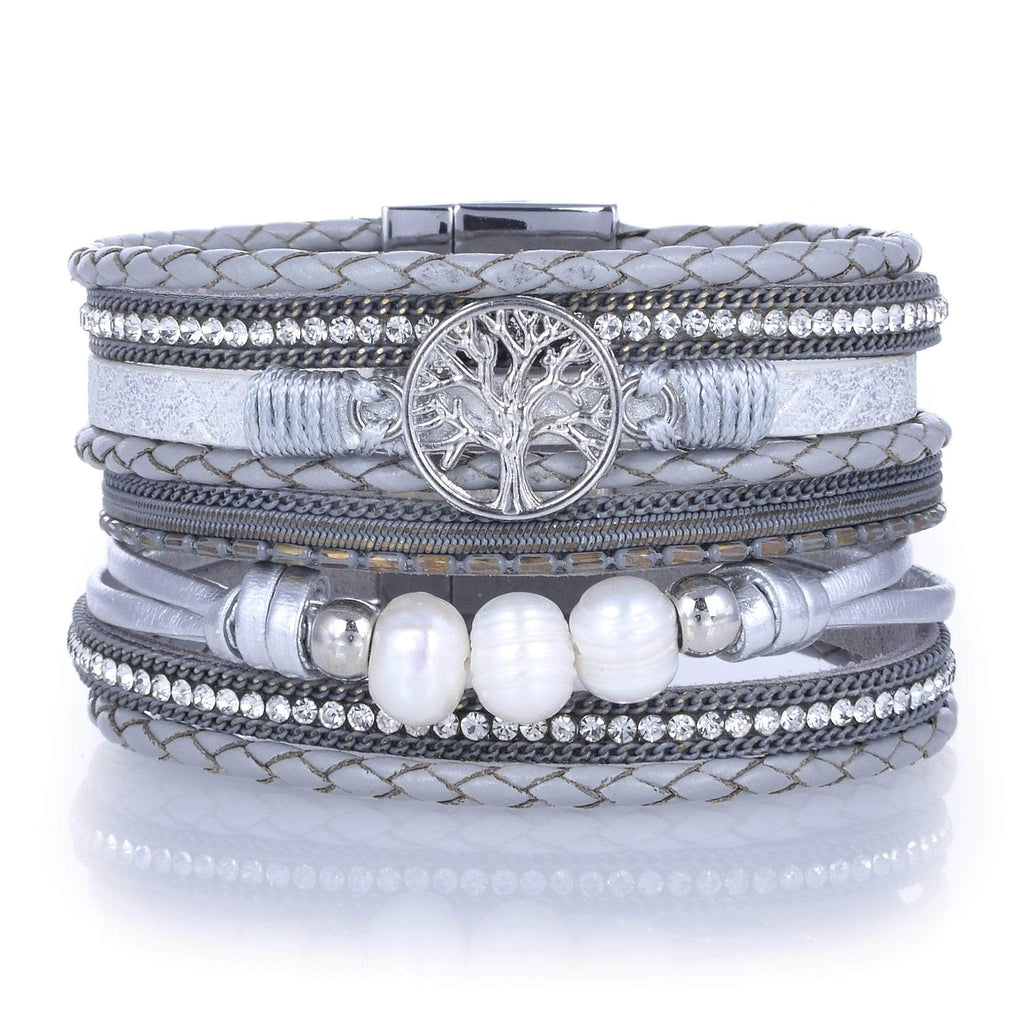 Kalifano Multiwrap Bracelets Multiple Strand Bracelet with Tree of Life Design Gray With Magnetic Clasp BMW-01-GY