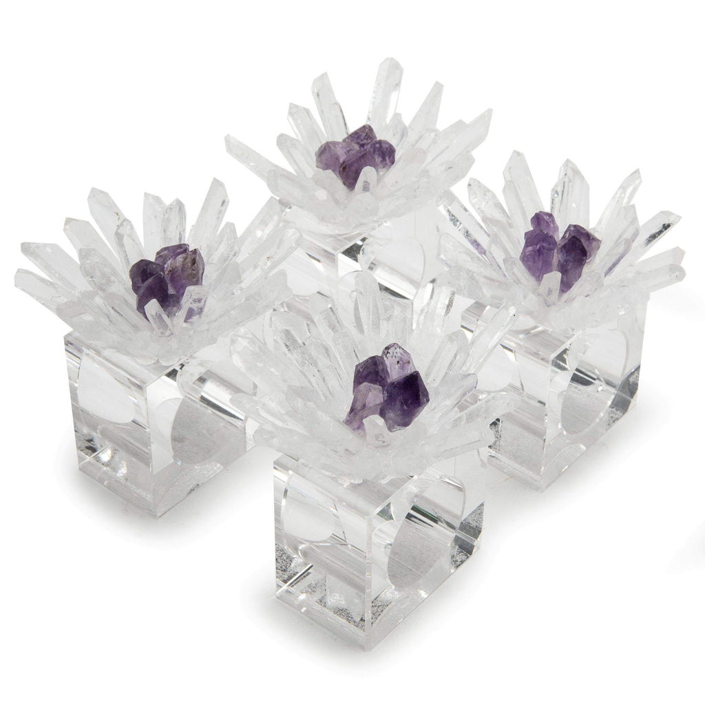 Kalifano Napkin Holder Quartz & Amethyst Flower Napkin Holder 4 Piece Set GNH-QA