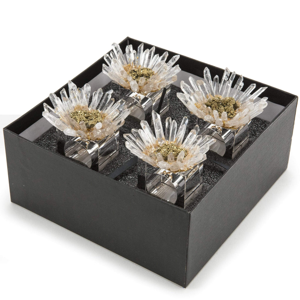 Kalifano Napkin Holder Quartz & Gold Geode Flower Napkin Holder 4 Piece Set GNH-QGF