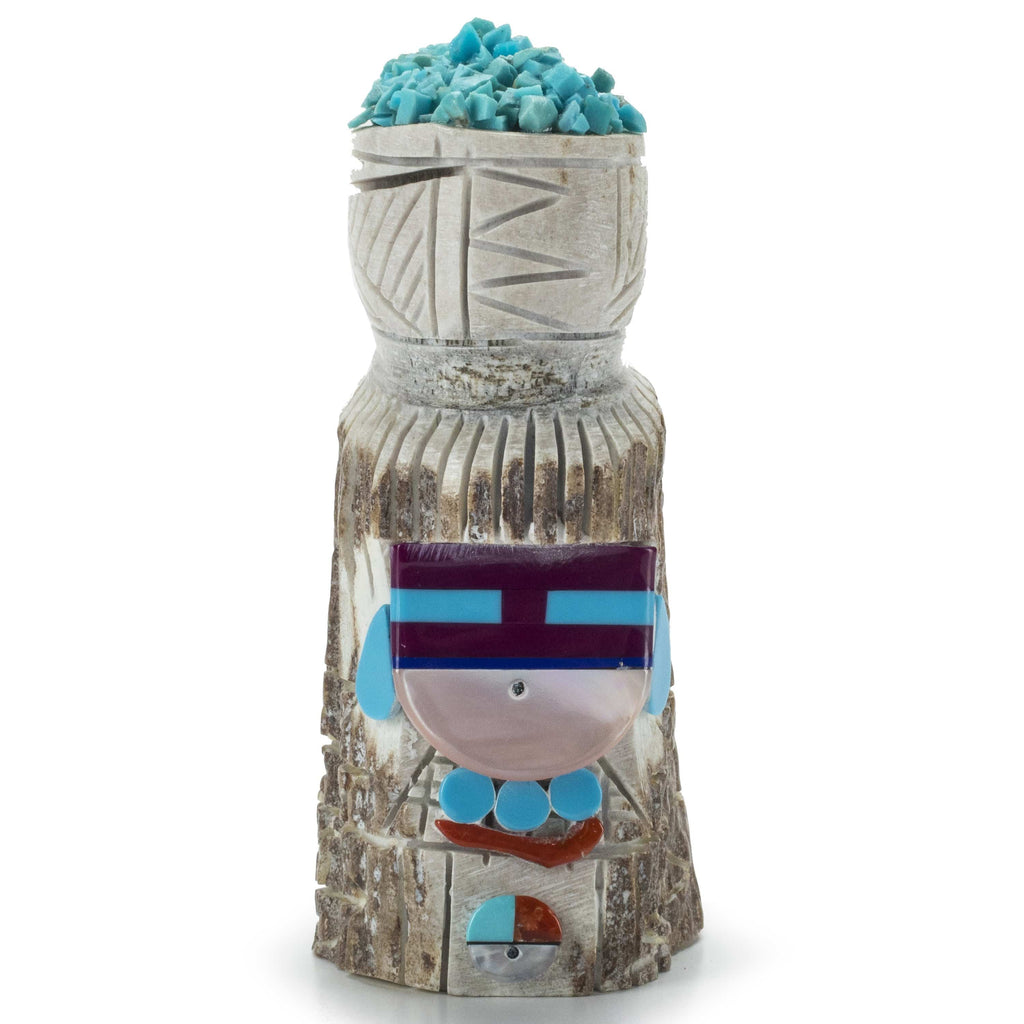 Kalifano Native American Fetish Carvings Amory Cellicion Handmade Zuni Maiden Fetish Carving with Turquoise, Coral, Jet, & Pink Mother of Pearl NAC360.007