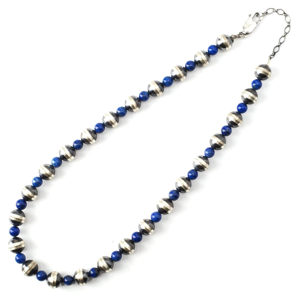 "Kalifano Native American Jewelry 16"" Lapis and Navajo Pearls USA Native American Made 925 Sterling Silver Necklace NAN700.002"