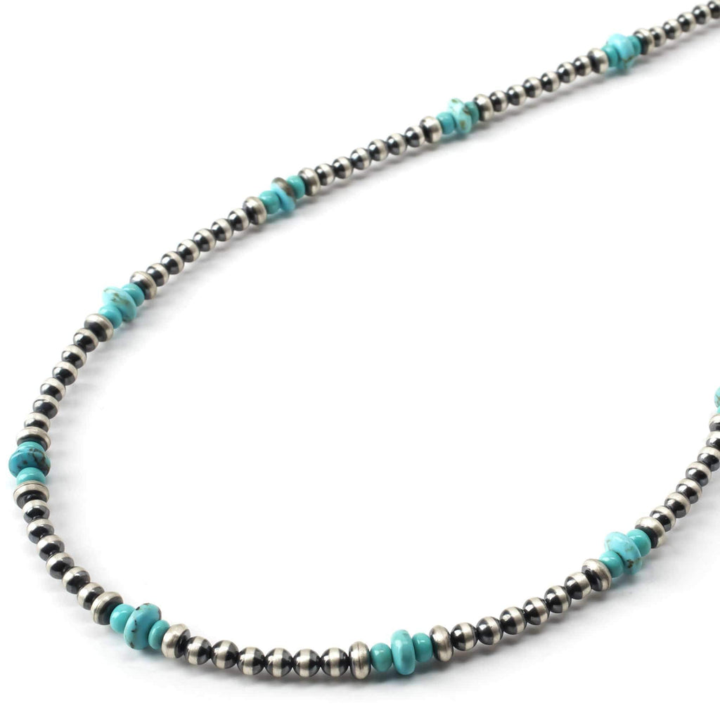 "Kalifano Native American Jewelry 24"" Turquoise and Navajo Pearls USA Native American Made 925 Sterling Silver Necklace NAN500.001"