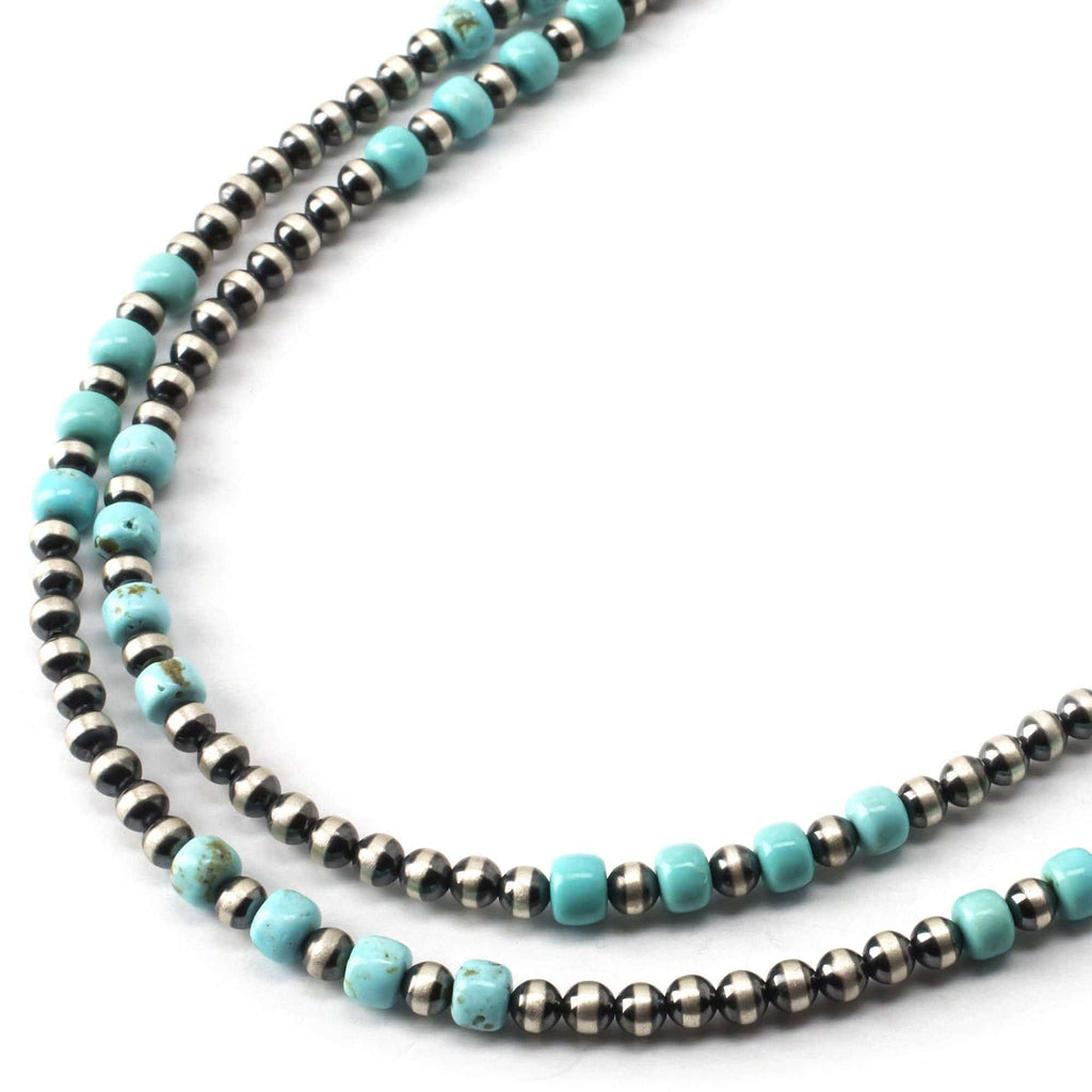 "Kalifano Native American Jewelry 36"" Turquoise and Navajo Pearls USA Native American Made 925 Sterling Silver Necklace NAN700.001"