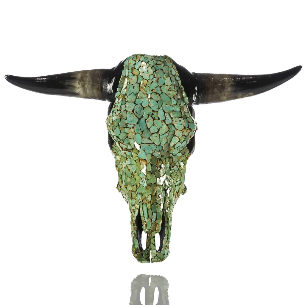 Kalifano Native American Jewelry Authentic USA Native Made Bull Skull with Natural American Turquoise SKULL-TQ5500.019