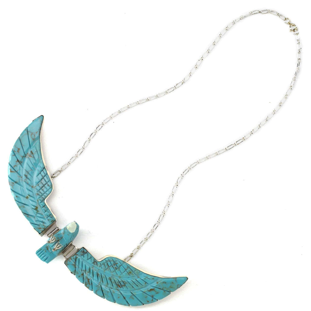 Kalifano Native American Jewelry Ben Livingston Turquoise Eagle Native American Made Sterling Silver Necklace NA1000.002
