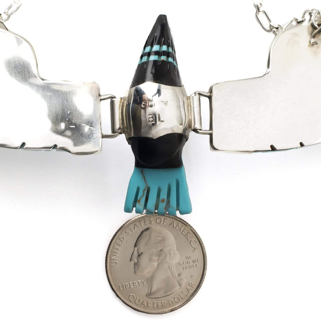 Kalifano Native American Jewelry Ben Livingston Turquoise & Onyx Eagle Native American Made Sterling Silver Necklace NA1000.001