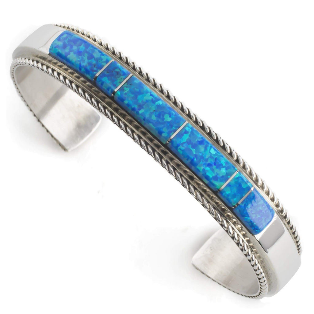 Kalifano Native American Jewelry Blue Opal Inlay Native American Made Sterling Silver Cuff NA330.006