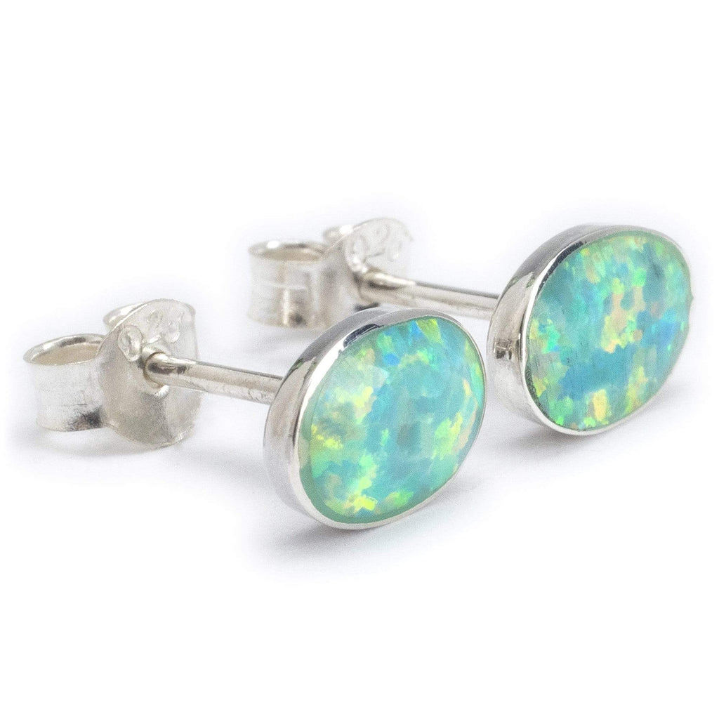 Kalifano Native American Jewelry NME.0028.GO - Green Opal Oval 925 Sterling Silver Earring with Stud Backing Handmade NME.0028.GO