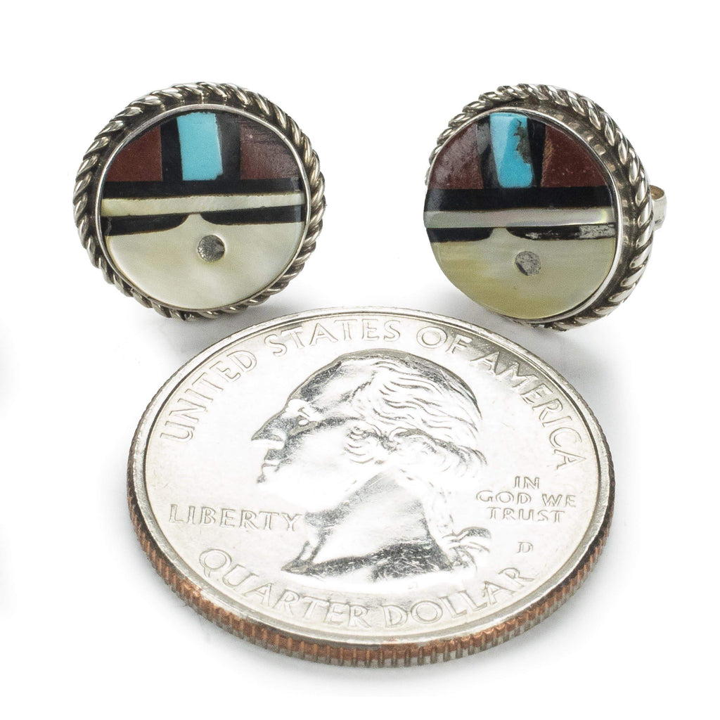 Kalifano Native American Jewelry Red Jasper, Turquoise, Jet, and Mother of Pearl Zuni USA Native American Made 925 Sterling Silver Circle Earrings with Stud Backing NAE150.002