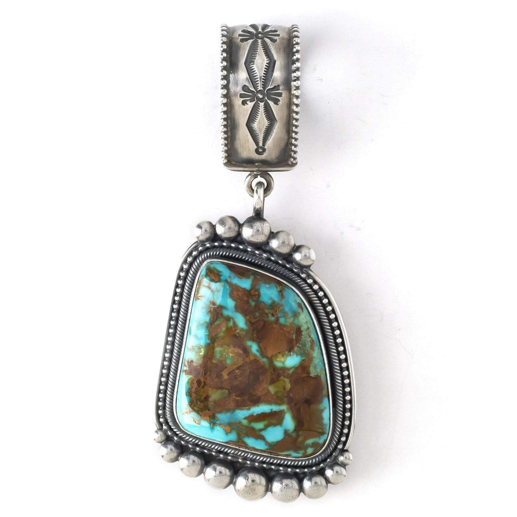 Kalifano Native American Jewelry Royston Turquoise Native American Made 925 Sterling Silver Pendant NAN3900.001