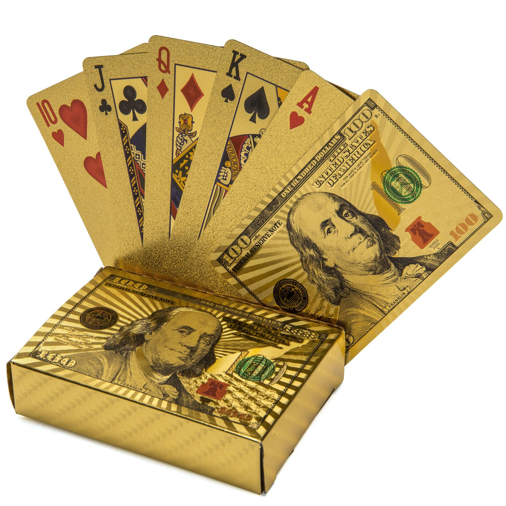 Kalifano Playing Cards $100 Gold Playing Cards GPC-100