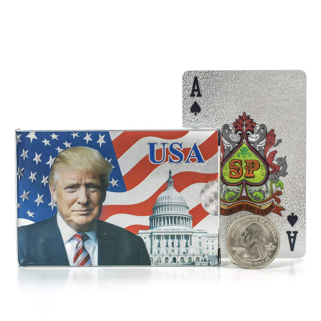 Kalifano Playing Cards Donald Trump Silver Playing Cards GPC-DT-S
