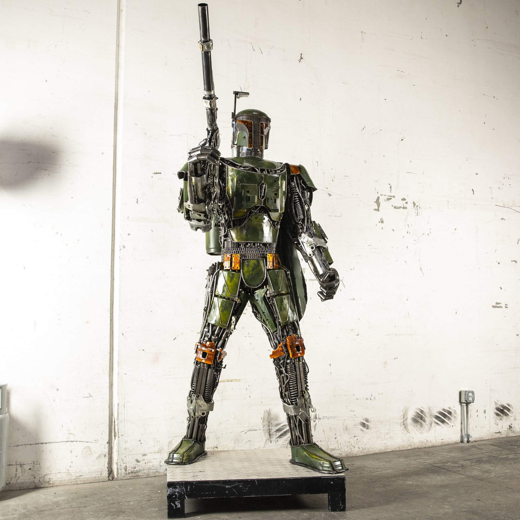 "Kalifano Recycled Metal Art 100"" Boba Fett Inspired Recycled Metal Art Sculpture RMS-BF255-S01"