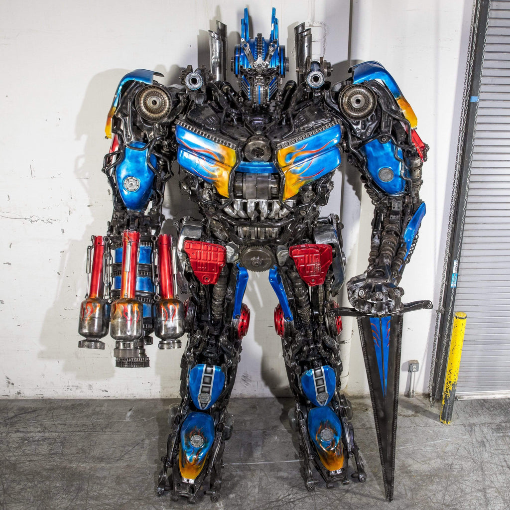 "Kalifano Recycled Metal Art 157"" Optimus Prime with Sword & Cannon Inspired Recycled Metal Art Sculpture RMS-OP400-S01"