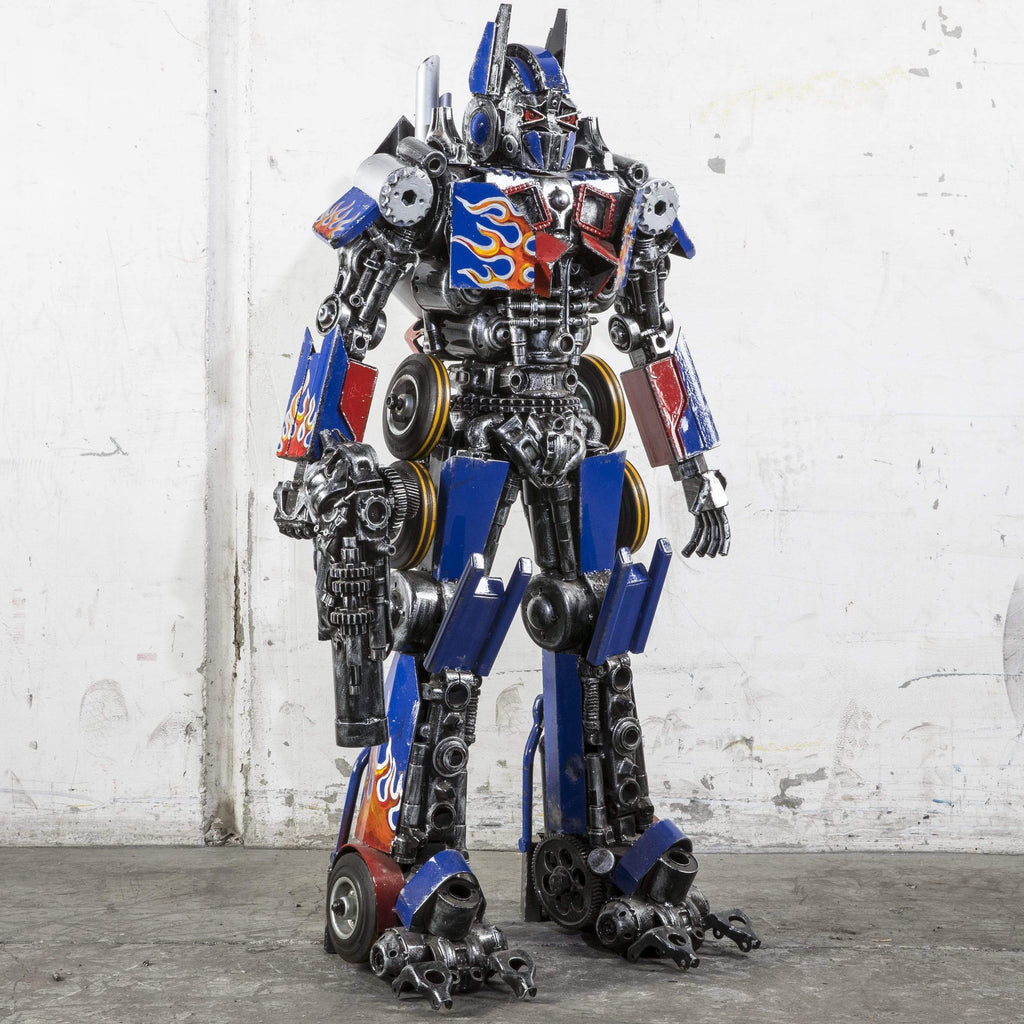 "Kalifano Recycled Metal Art 44"" Optimus Prime Inspired Recycled Metal Art Sculpture RMS-OP110-P02"