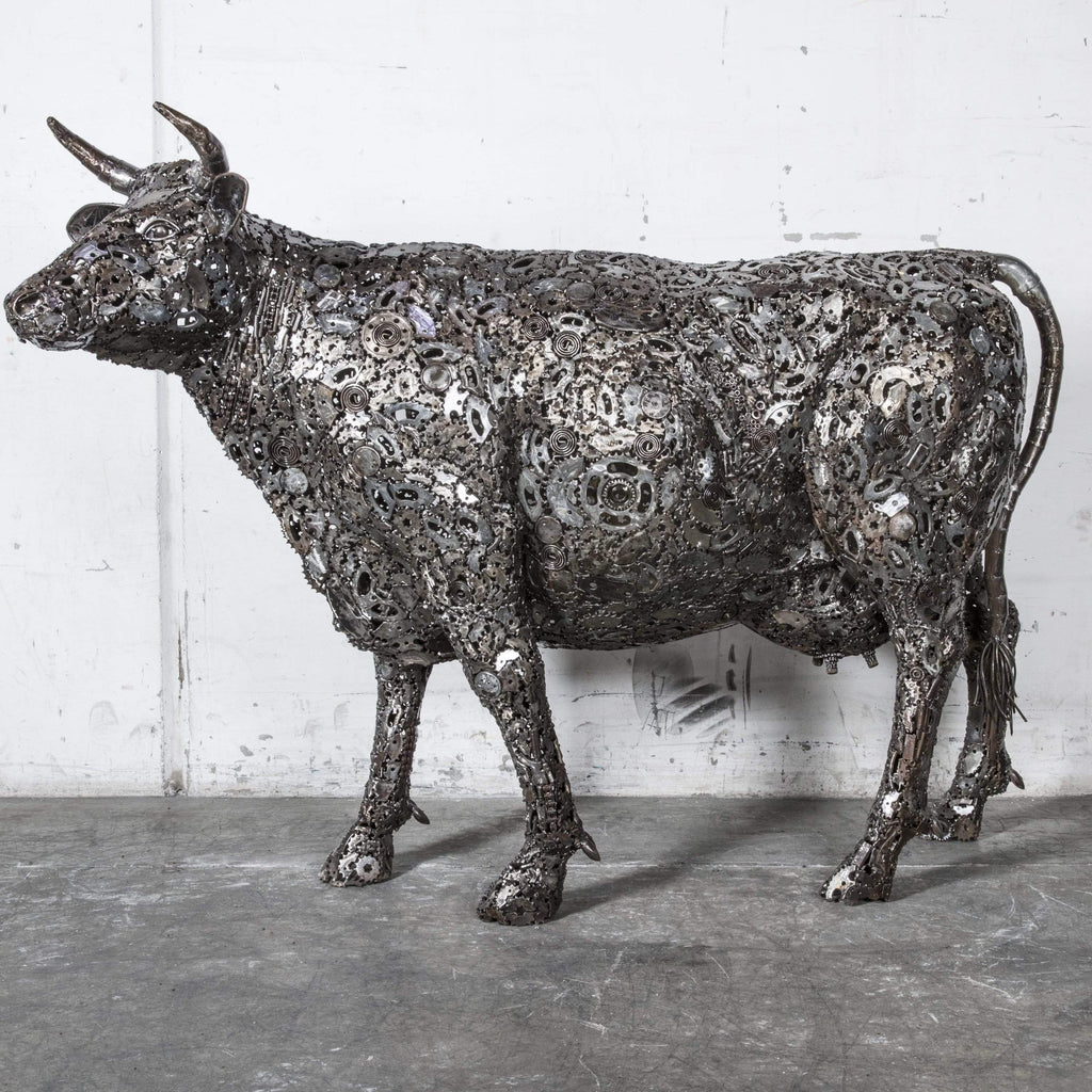 "Kalifano Recycled Metal Art 61"" Cow Recycled Metal Art Sculpture RMS-COW150-P01"