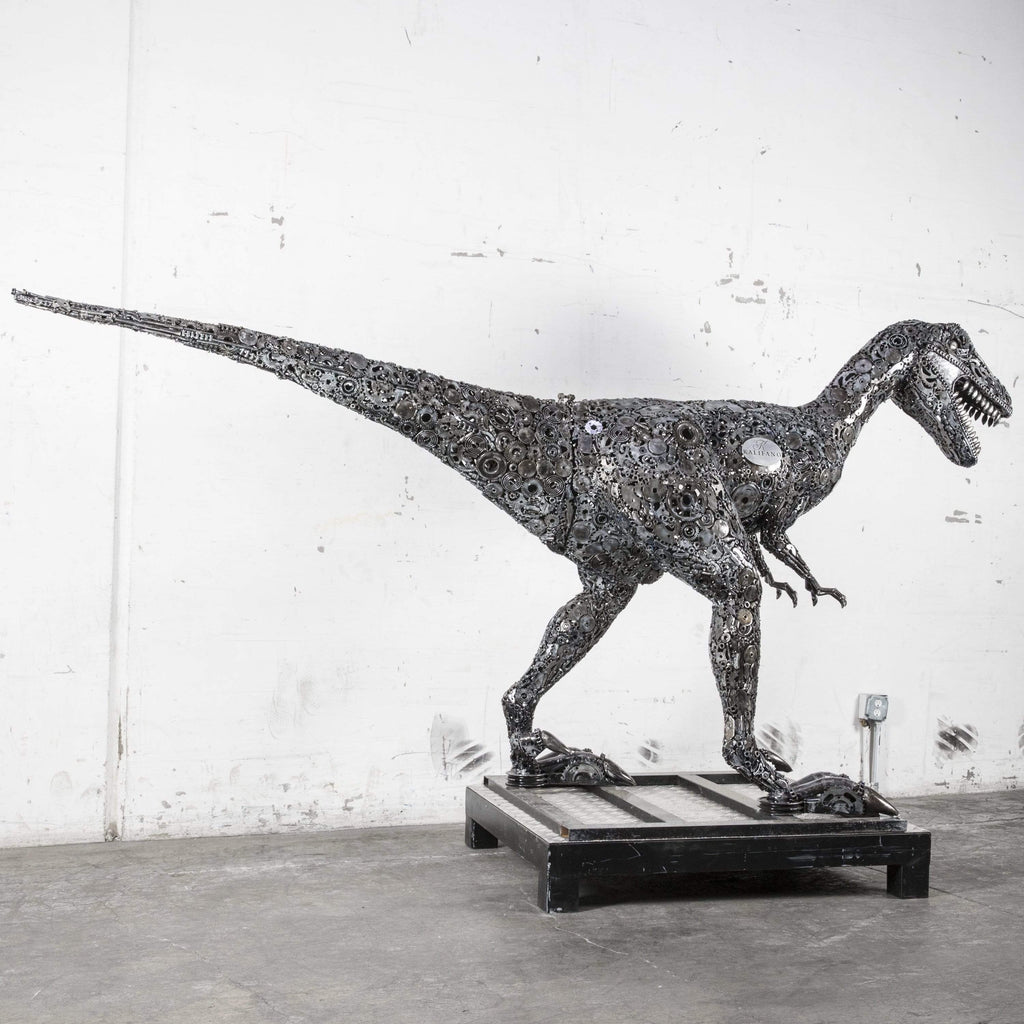 "Kalifano Recycled Metal Art 66"" Raptor Dinosaur Recycled Metal Art Sculpture RMS-RPT170-P01"