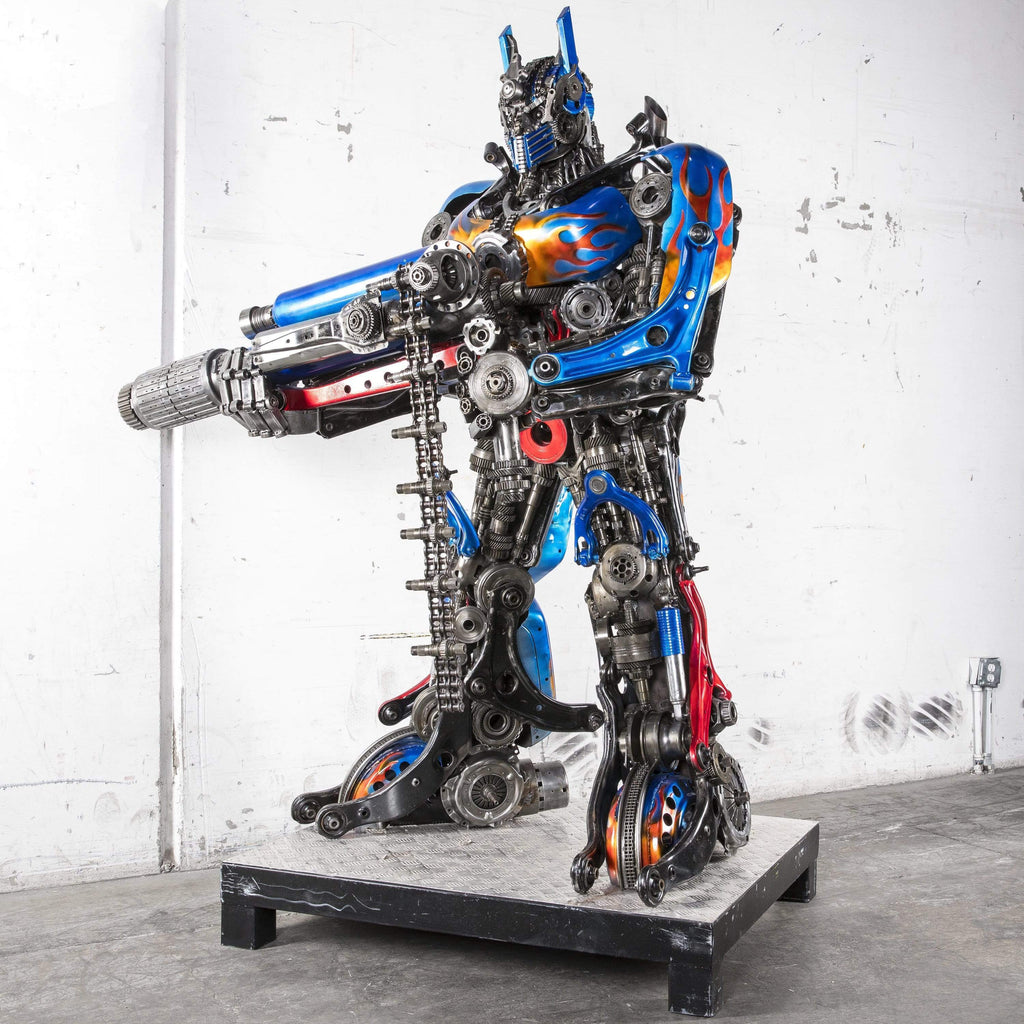 "Kalifano Recycled Metal Art 83"" Optimus Prime with Gun Inspired Recycled Metal Art Sculpture RMS-OP200-S03"